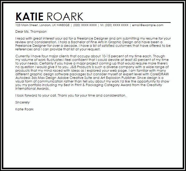 Cover Letter Sample Freelance