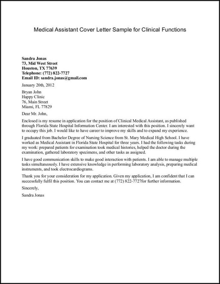 Examples Of Cover Letters For Medical Administrative Assistant Free 10 Best Medical Cover Letter Examples Templates