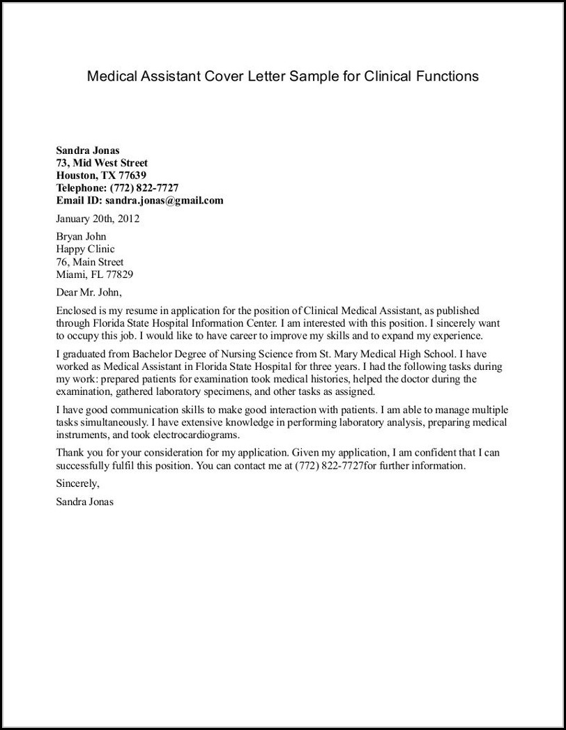 cover letter template for medical office assistant