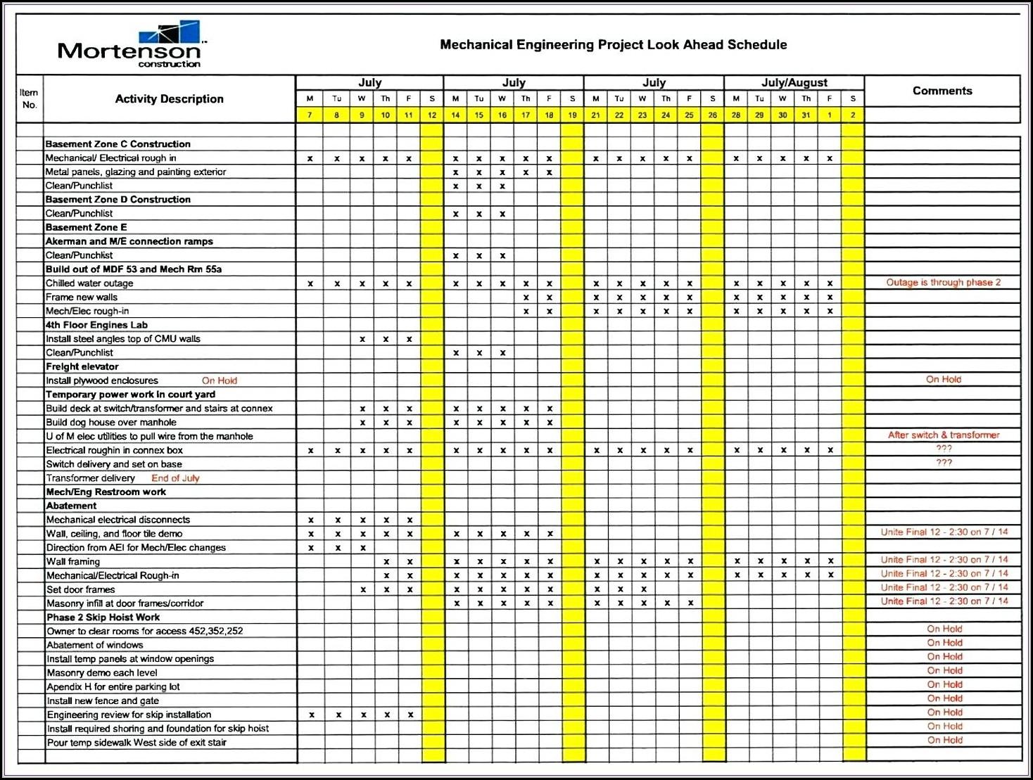 3 Week Look Ahead Schedule Excel Template