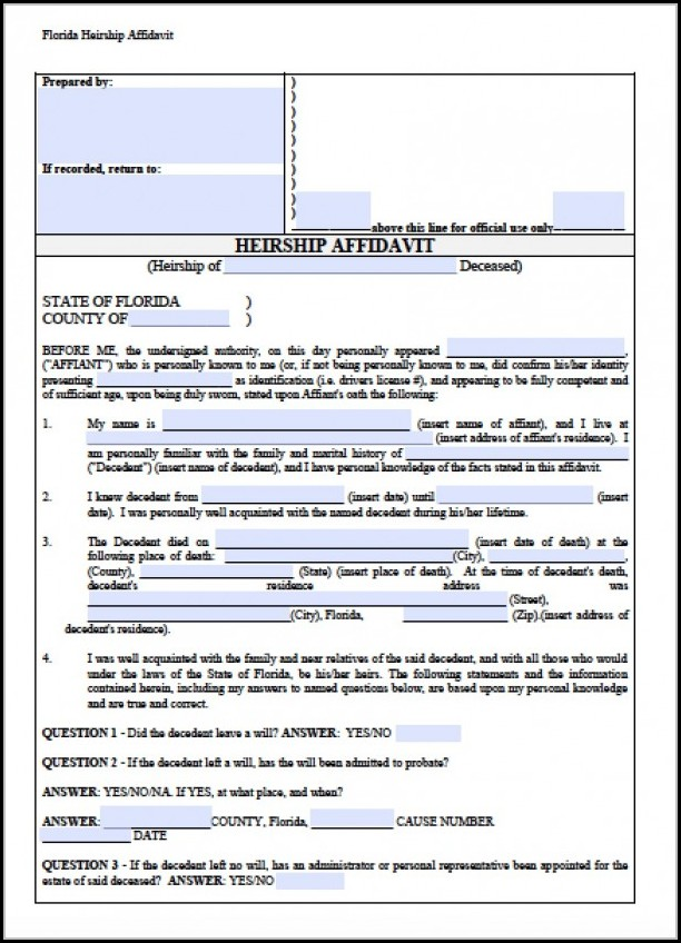Affidavit Of Heirship Form Florida