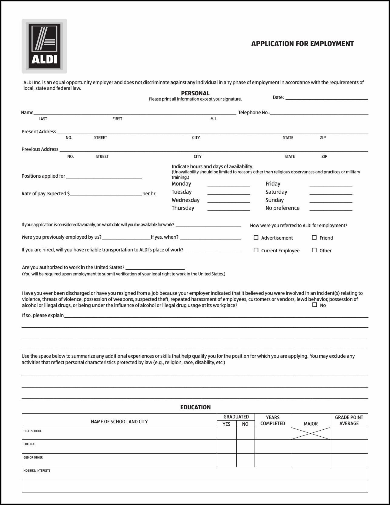 Aldi Job Application Pdf