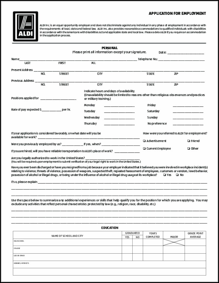aldi printable job application form job applications resume