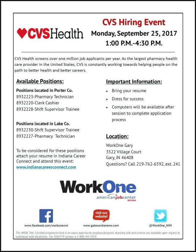 Application For Cvs Pharmacy Technician