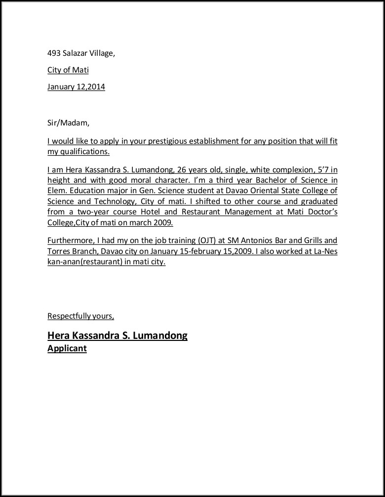 Application Letter For Hotel And Restaurant Management Graduate Hotel And Hospitality