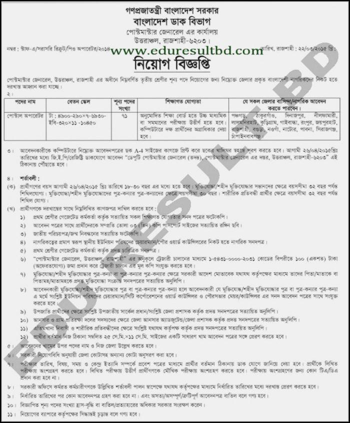Bangladesh Post Office Job Application Form