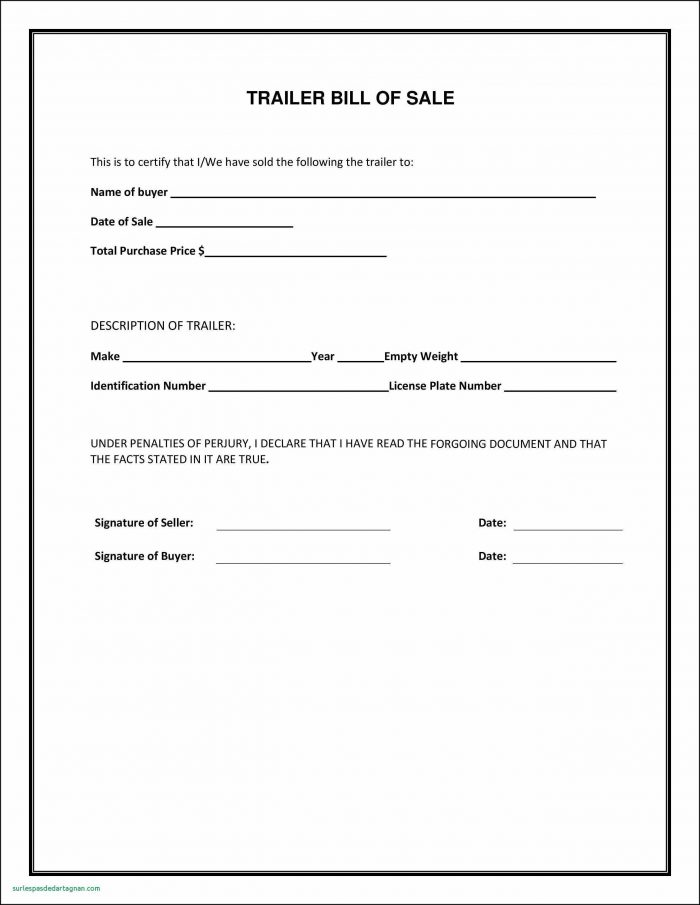 Blank Bill Of Sale Form For Boat