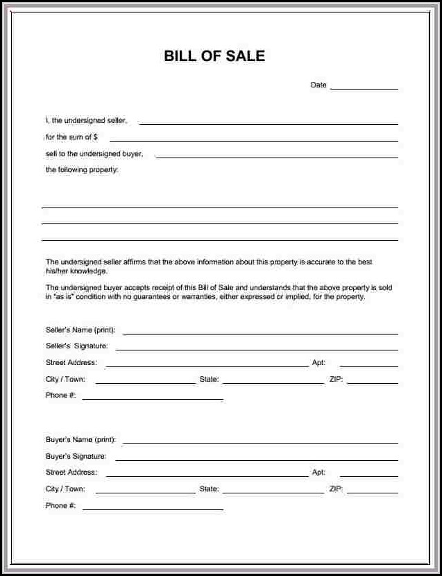 Blank Bill Of Sale Form Nc