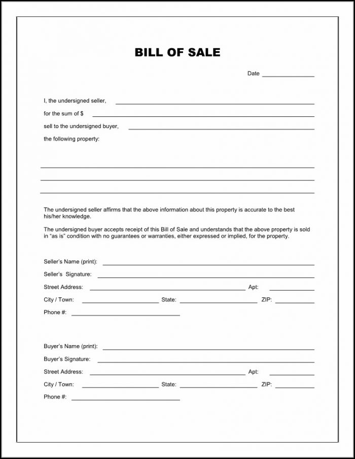 Blank Bill Of Sale Form Printable
