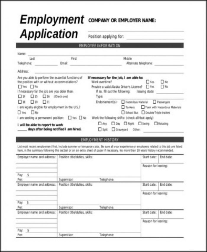 Blank General Employment Application Form