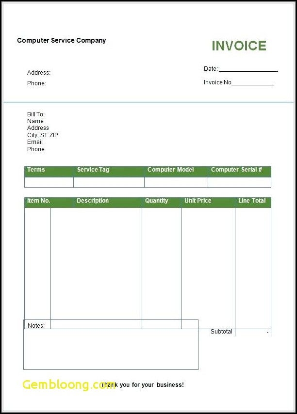 Blank Invoice Format In Word