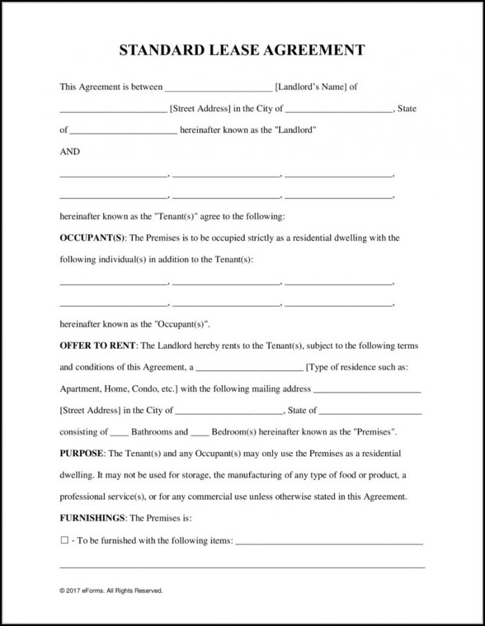 Blank Rental Lease Agreement Form