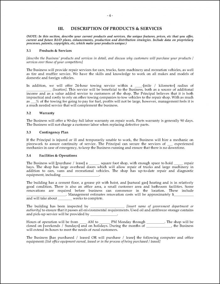 Business Plan Template For Auto Repair Shop