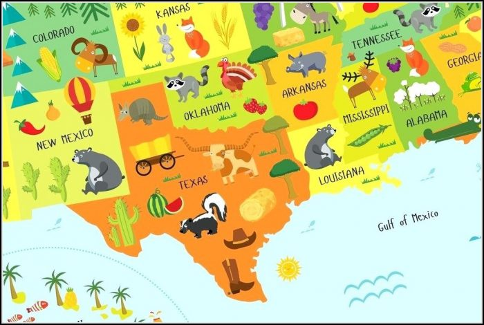 Childrens Map Of The United States