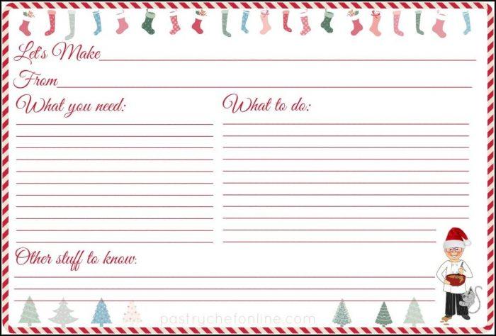 Christmas Recipe Card Template