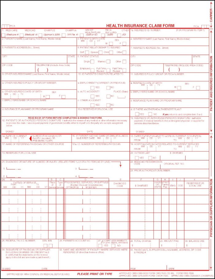 Cms 1500 Claim Form Pdf Free Download