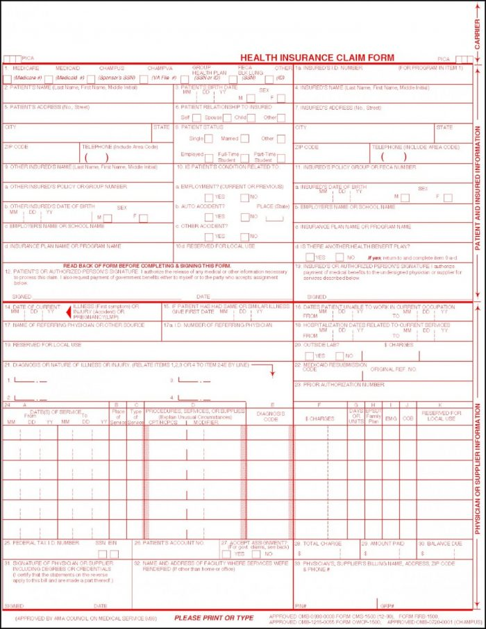 Cms 1500 Fillable Form Free