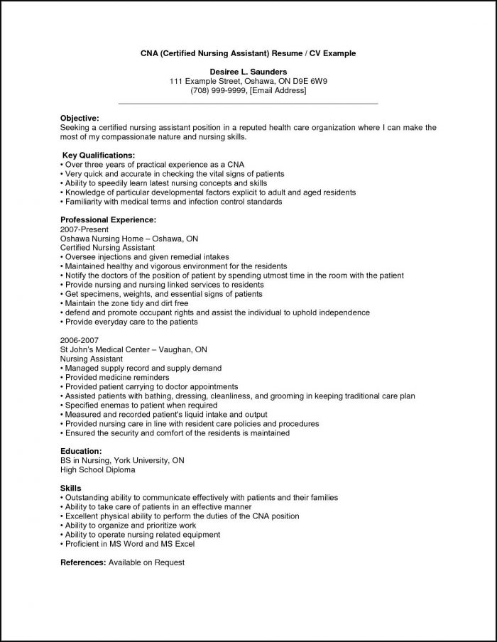 Cna Resume Template No Experience