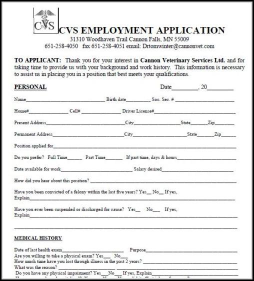 Cvs Job Application Form Pdf Job Applications Resume Examples