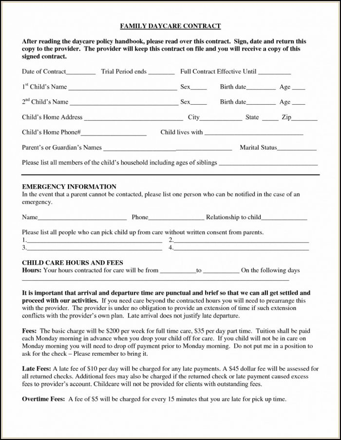 Daycare Contract Forms Free