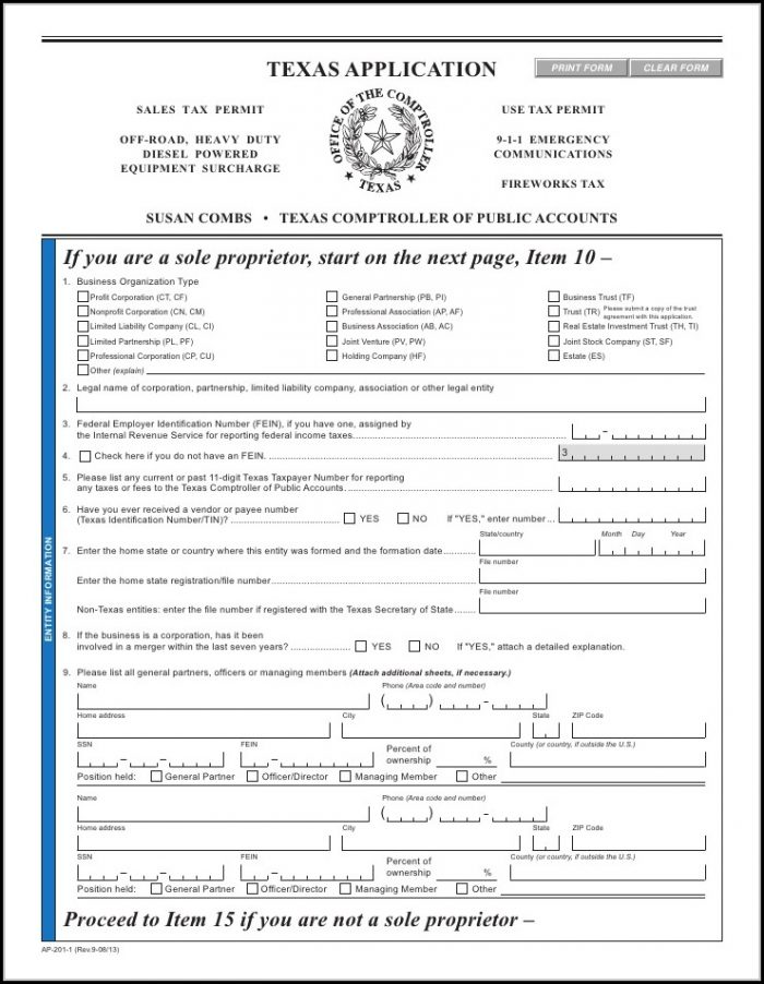 Dba Form Texas