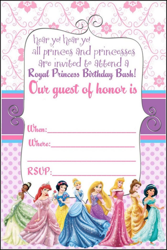 Disney Princess Birthday Invitation Template