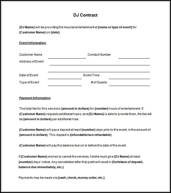 Dj Booking Contract Template