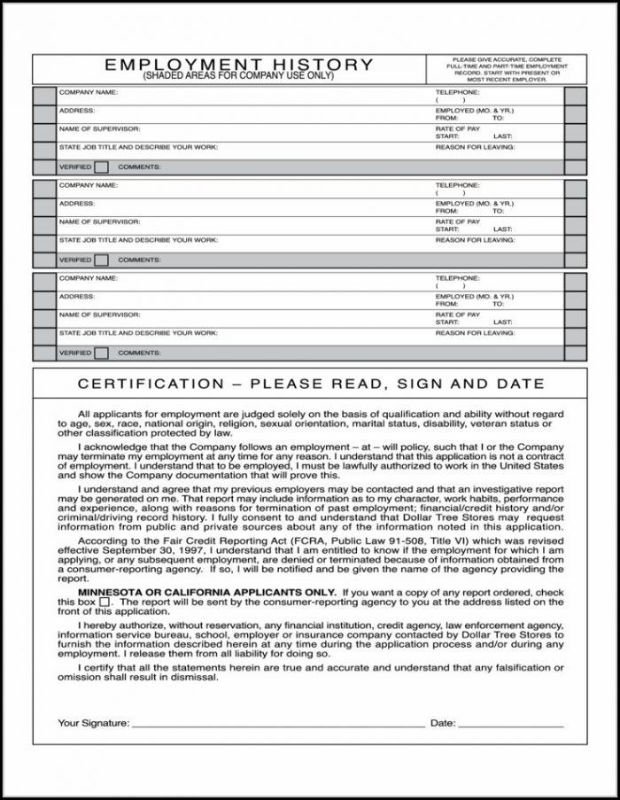 Dollar Tree Employment Application Form Online
