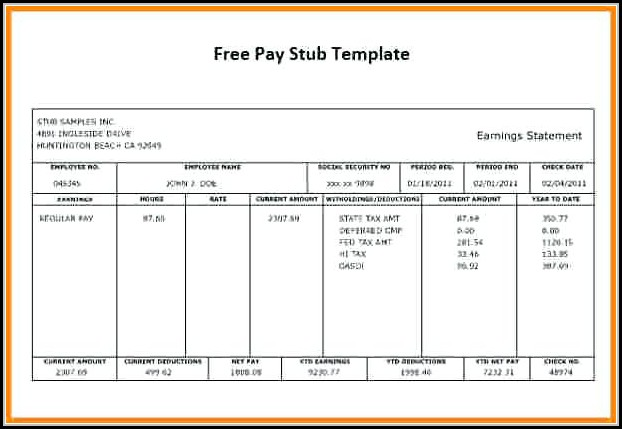 Download Pay Stub Template