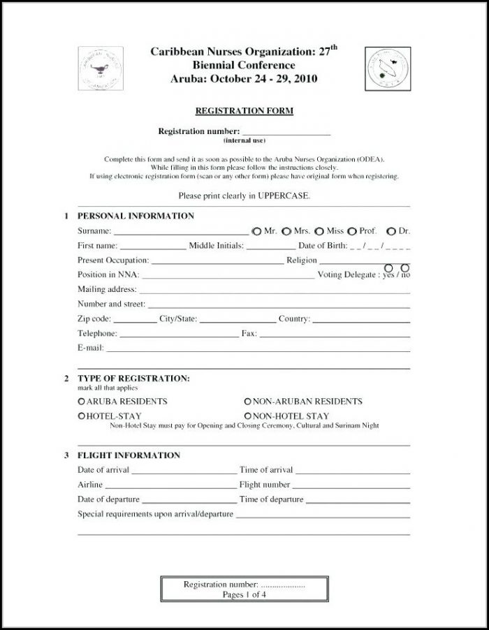 Employee Registration Form Template Free Download