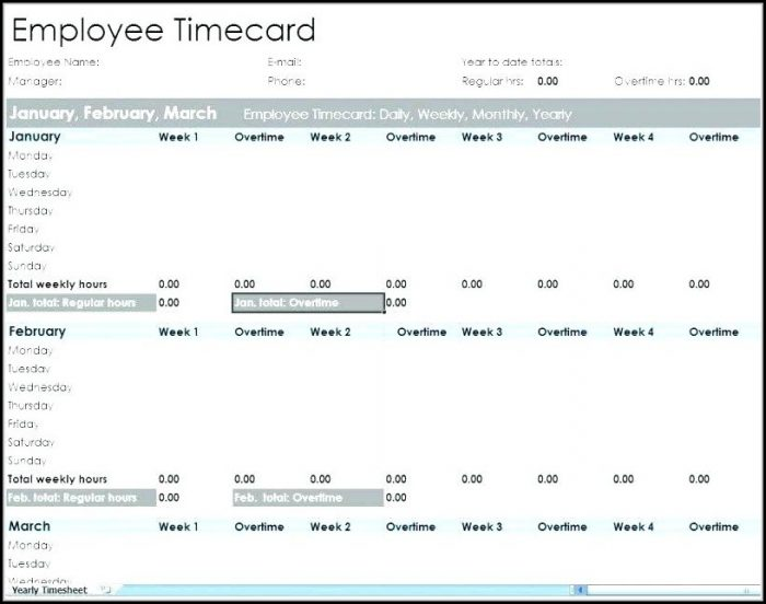 Employee Time Tracking Templates Free