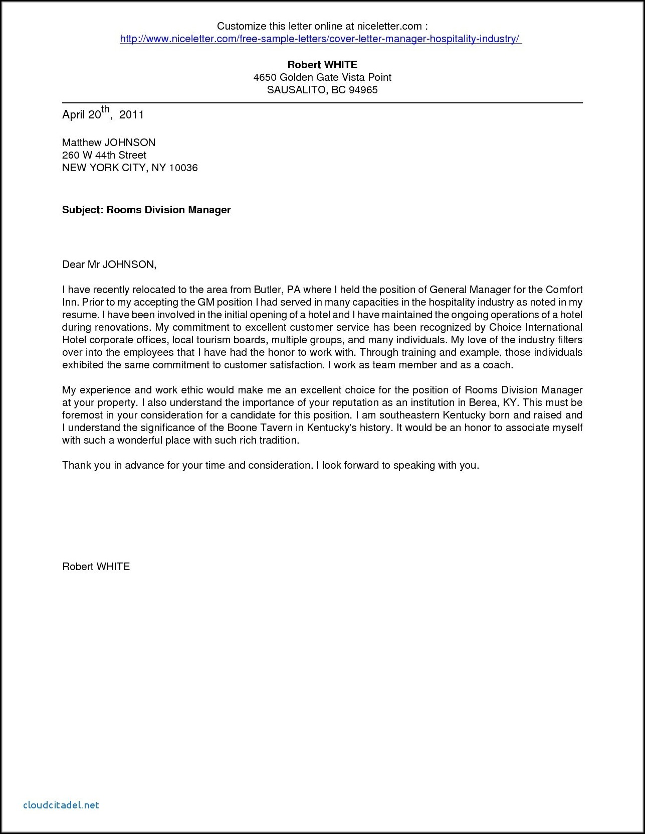 example application letter for hotel and restaurant