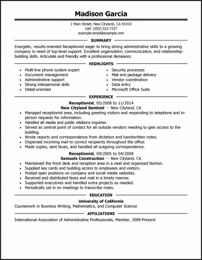 Examples Of Resumes For Jobs