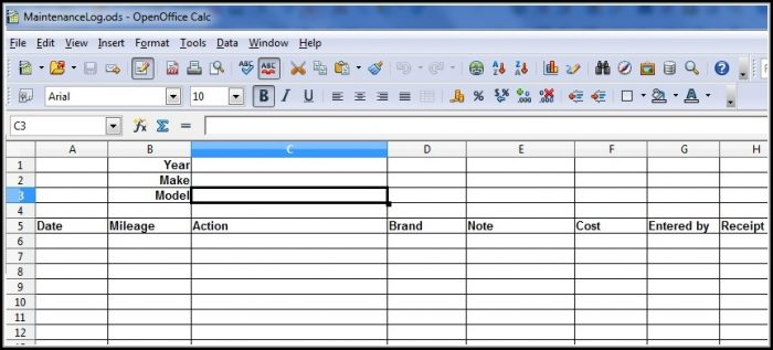 Fleet Vehicle Maintenance Log Template Excel