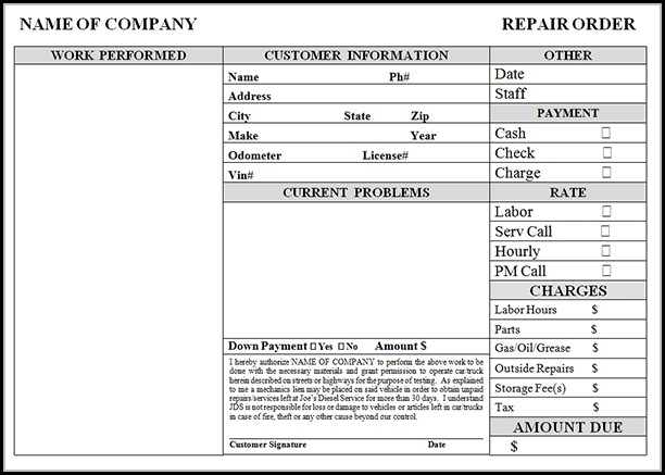 Free Automotive Invoice Template