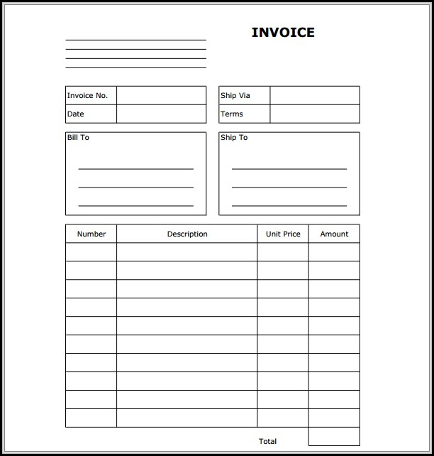 Free Blank Invoice Form To Print