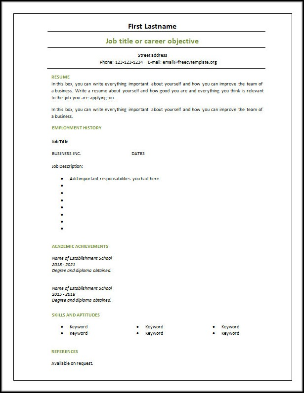 Free Blank Resume Templates Download