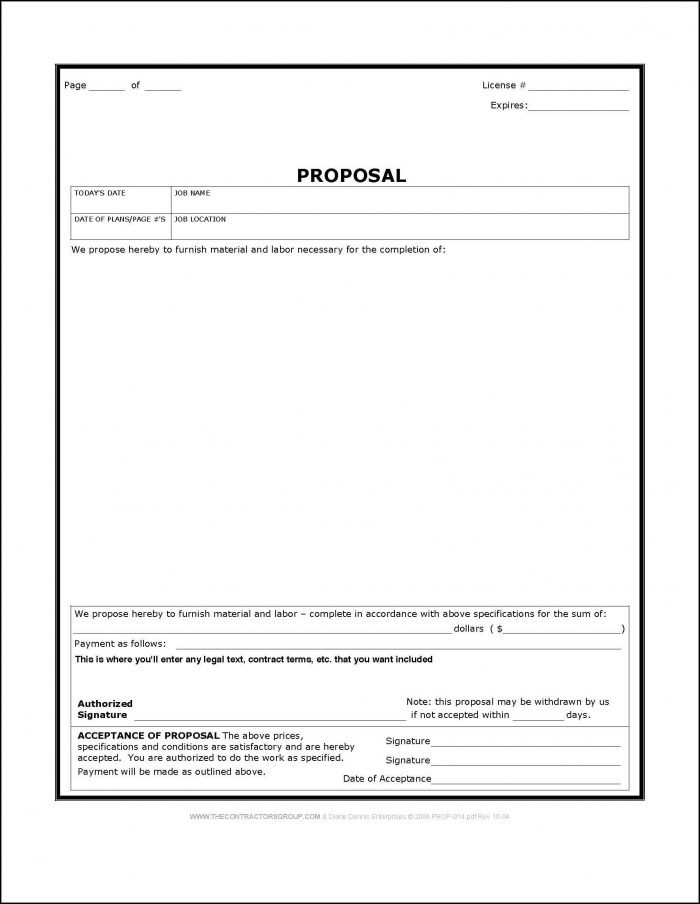 Free Construction Bid Proposal Template