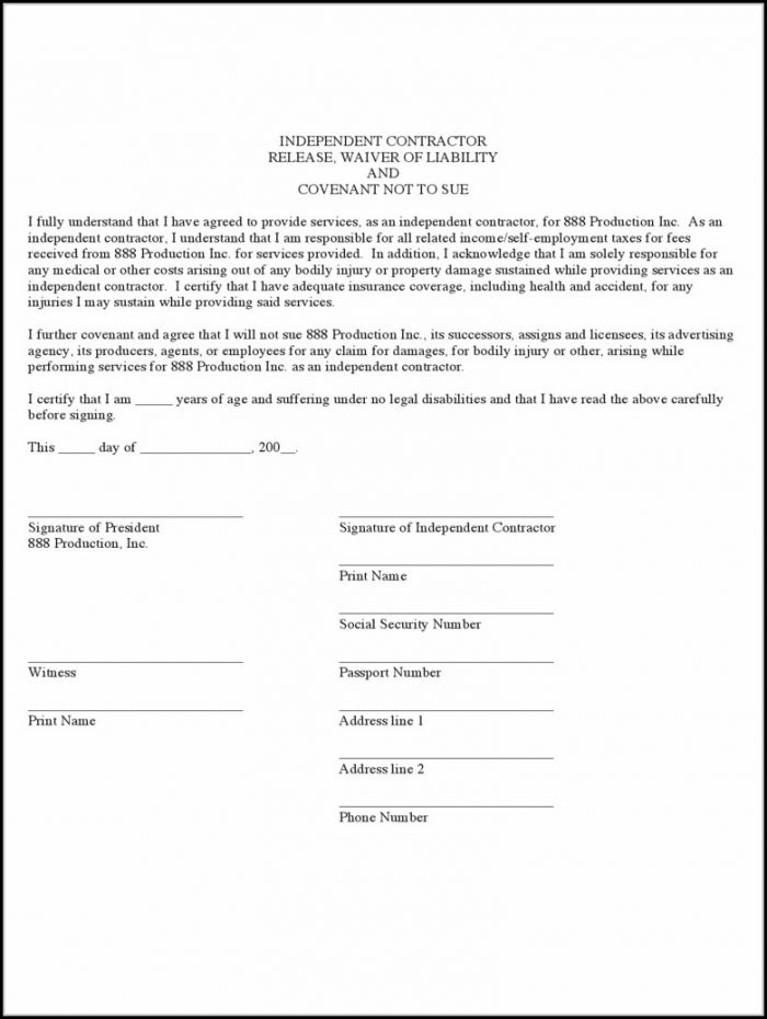Free Contractor Liability Waiver Form