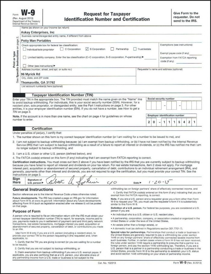 Free Fillable W 9 Form Download