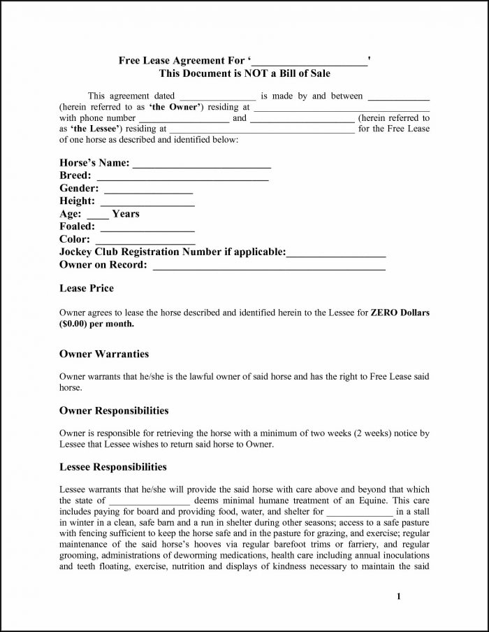 Free Horse Lease Agreement Template