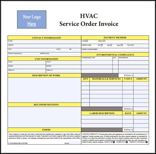 Free Hvac Work Order Template