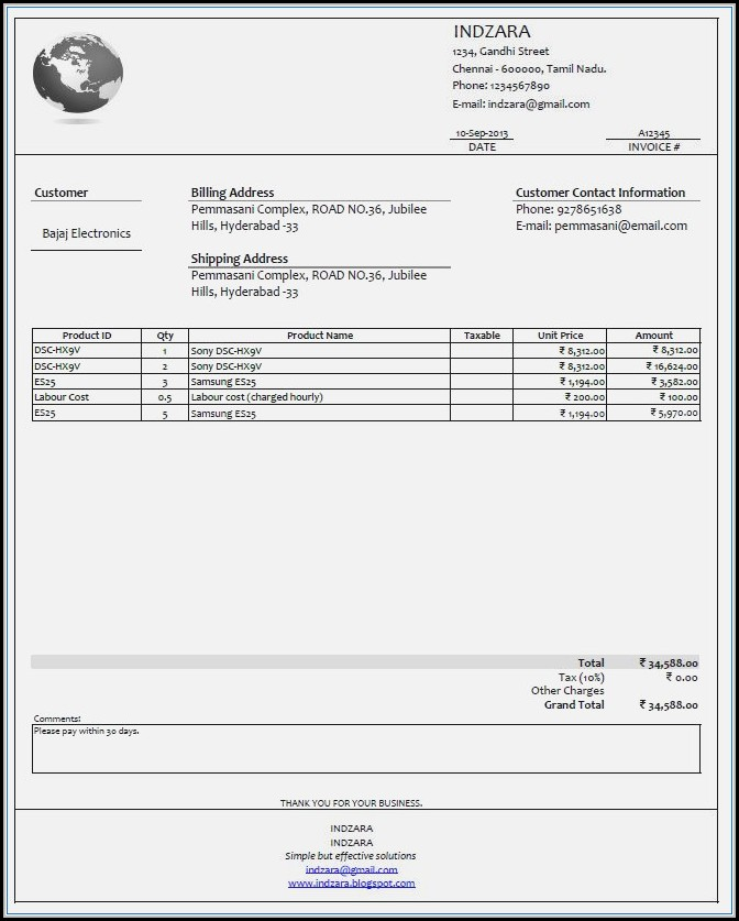 Free Invoice Template Maker