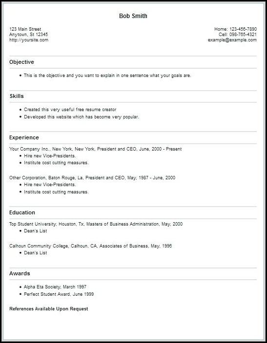 Free Online Resume Creator
