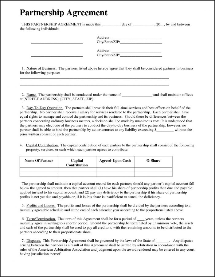 Free Partnership Agreement Form Word