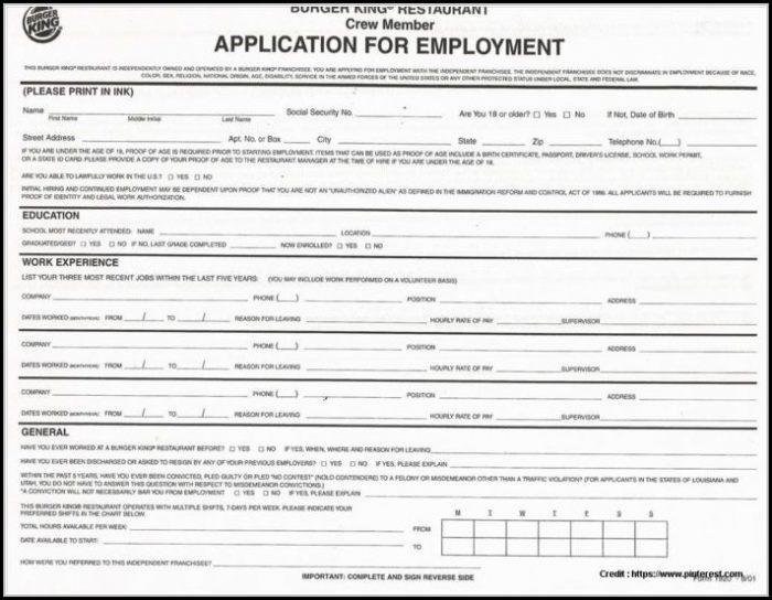 Free Printable Blank Job Applications Forms