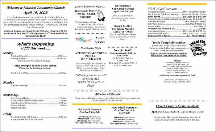 Free Printable Church Bulletin Templates