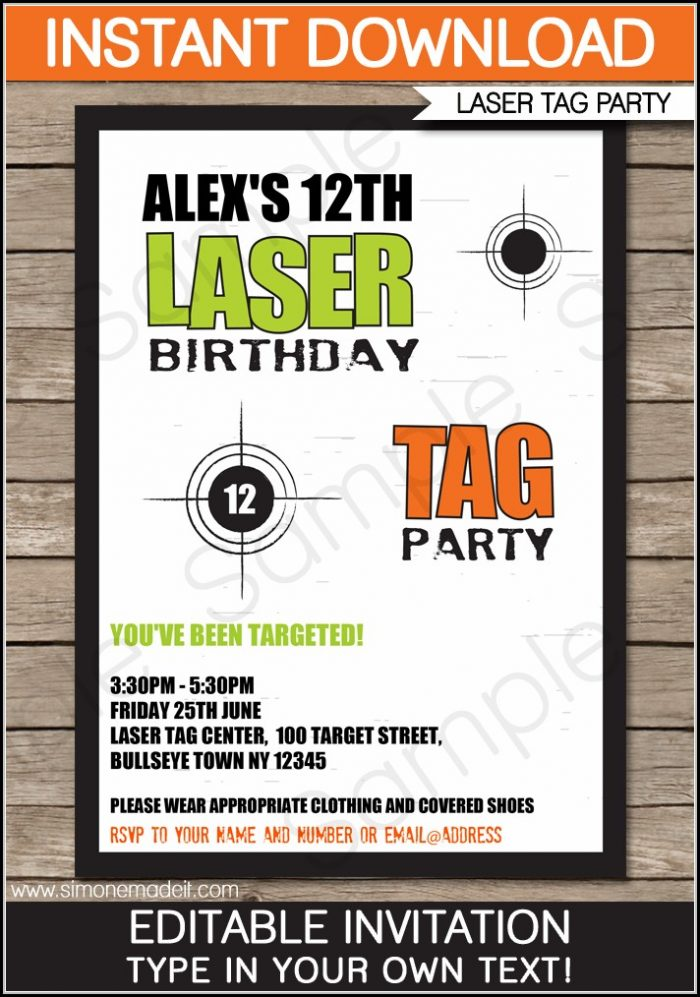 Free Printable Laser Tag Invitation Template