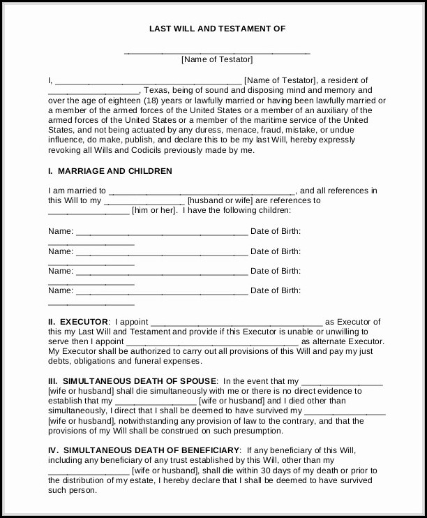 Free Printable Last Will And Testament Forms California