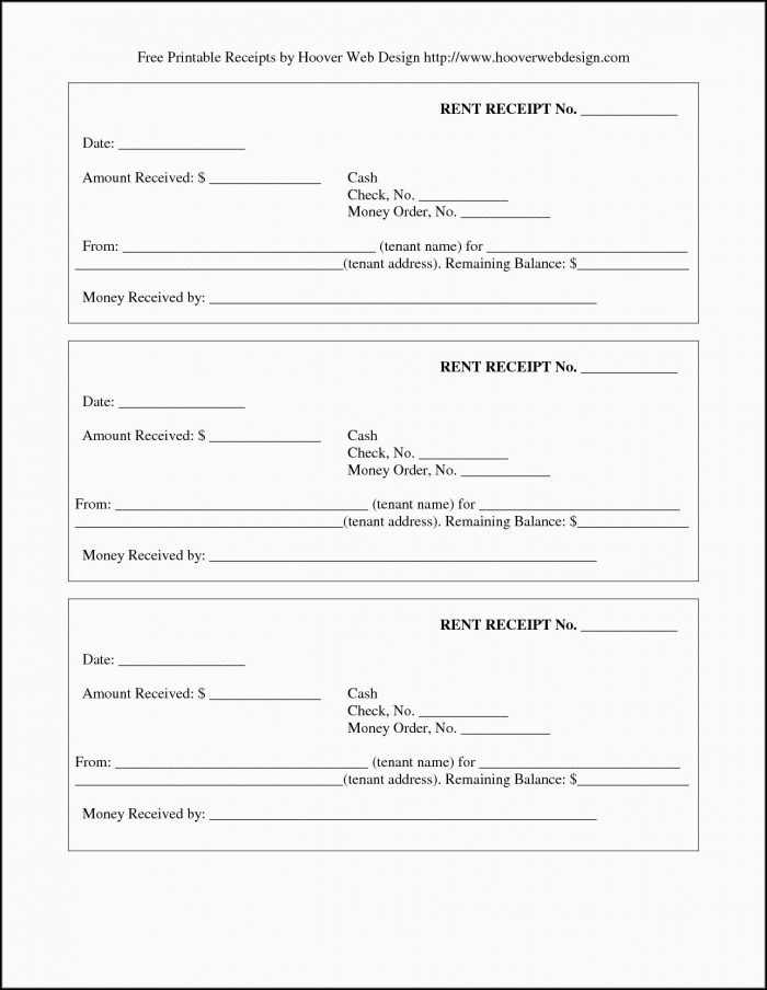 Free Printable Payment Receipt Template